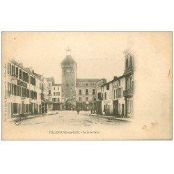 carte postale ancienne 47 VILLENEUVE-SUR-LOT. Porte de Paris vers 1900 Hôtel de France