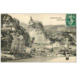 carte postale ancienne 48 CASTELBOUC. Village et Château 1910