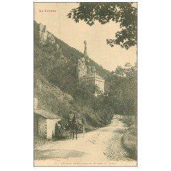 carte postale ancienne 48 CHATEAU DE ROCHEBLAVE avec Attelage