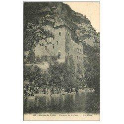 carte postale ancienne 48 GORGES DU TARN. Le Château de la Caze 1914