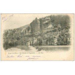 carte postale ancienne 48 GORGES DU TARN. Le Moulin de Pougnadoire 1901