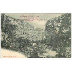 carte postale ancienne 48 GORGES DU TARN. Les Baumes Basses vers 1900