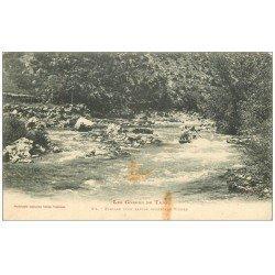 carte postale ancienne 48 GORGES DU TARN. Passage d'un Rapide après les Vignes vers 1900