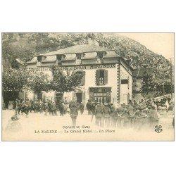 carte postale ancienne 48 LA MALENE. Le Grand Hôtel sur la Place