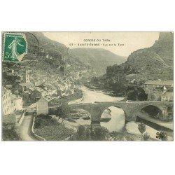 carte postale ancienne 48 SAINTE-ENIMIE. Vue sur le Tarn 1909