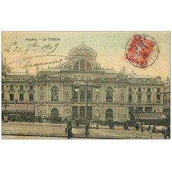 carte postale ancienne 49 ANGERS. Carte toilée. Le Théâtre 1909