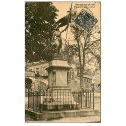 carte postale ancienne 49 BEAUGENCY. Statye Jeanne d'Arc 1931. Affiche cacao Blooker