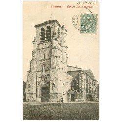carte postale ancienne 02 CHAUNY. Eglise Saint-Martin 1906
