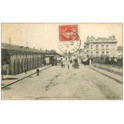 carte postale ancienne 49 SAUMUR. Gare d'Orléans Avenue David d'Angers 1908. Hôtel Terminus