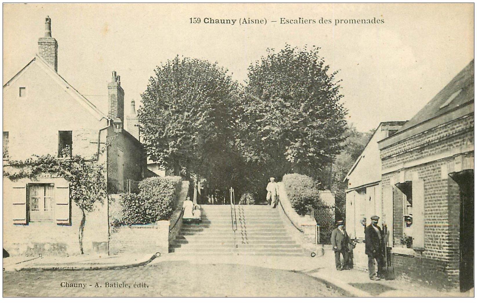 carte postale ancienne 02 CHAUNY. Escalier des Promenades. Edition Baticler