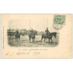 carte postale ancienne 49 SAUMUR. Travail Militaire avec la lance 1902