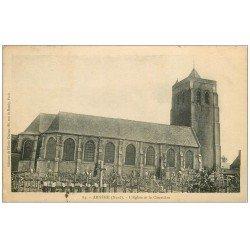 carte postale ancienne 59 ARNEKE. Eglise et Cimetière 1927