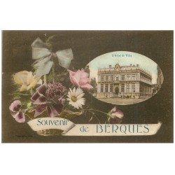 carte postale ancienne 59 BERGUES. Hôtel de Ville. Publicité Javel Cotelle-Croix et lessive La Croix