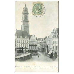 carte postale ancienne 59 CAMBRAI. Grand Place rue Saint-mazrtin 1908 Boucherie