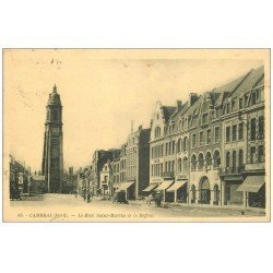 carte postale ancienne 59 CAMBRAI. Mail Saint-Martin et Beffroi. Coiffeur et Confiserie