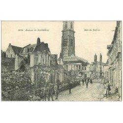 carte postale ancienne 59 CAMBRAI. Ruines et Soldats Rue de Noyon 1919. Edition la Pensée