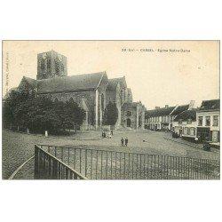 carte postale ancienne 59 CASSEL. Eglise et Estaminet vers 1904