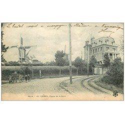 carte postale ancienne 59 CASSEL. Moulins à vent Route de la Gare 1905