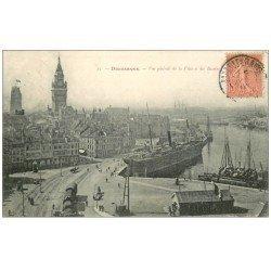 carte postale ancienne 59 DUNKERQUE. Lot 5 Cpa. Bassin, Place Jean-Bart, Eglise, Défense Mobile et Kiosque Parc de la Marine