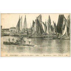 carte postale ancienne 59 DUNKERQUE. Lot 5 Cpa. Sous-Marin Ludion, Monument Défense, Eglise Rue Fort Louis, Bassins et Panorama