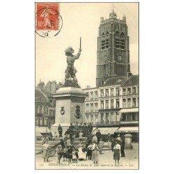 carte postale ancienne 59 DUNKERQUE. Lot 5 Cpa. Statue Jean-Bart, Beffroi, Place République, Port, Eglise et Bassin du Commerce