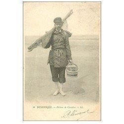 carte postale ancienne 59 DUNKERQUE. Pêcheur de Crevettes 1902. Métiers de la Mer