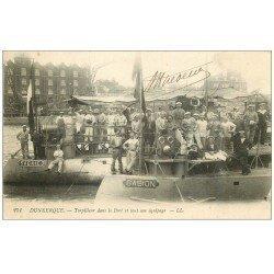 carte postale ancienne 59 DUNKERQUE. Torpilleurs dans le Port et son équipage. Gabion et Sagaie. Marins Militaires