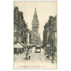 carte postale ancienne 59 DUNKERQUE. Tramway Rue de l'Eglise