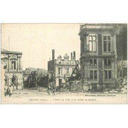 carte postale ancienne 02 CHAUNY. Hôtel de Ville et Palais de Justice 1917