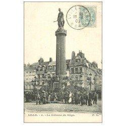 carte postale ancienne 59 LILLE. La Colonne du Siège 1905 grosse animation