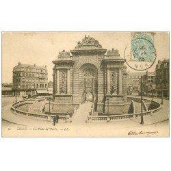 carte postale ancienne 59 LILLE. La Porte de Paris 1905