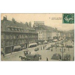 carte postale ancienne 59 LILLE. Vendeurs de Fleurs sur la PLace 1909