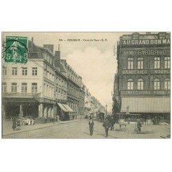 "carte postale ancienne 59 ROUBAIX. Grande Rue 1908 """" Au Grand bon Marché """""
