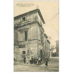 carte postale ancienne 11 NARBONNE. L'Hôtellerie des Trois-Nourrices 1910. Affiche Liqueur Raspail et Get
