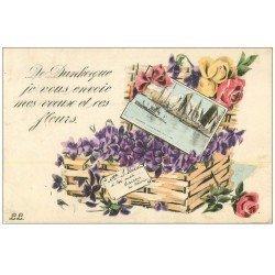 carte postale ancienne Superbe Lot de 10 Cpa DUNKERQUE 59. Lenghenaer, Place Abondance, Allée des Bains, Gare, Navire, etc...