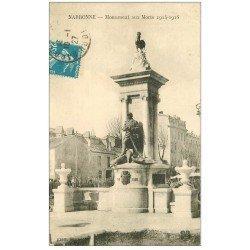 carte postale ancienne 11 NARBONNE. Monument aux Morts 1914-18 en 1927