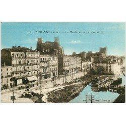 carte postale ancienne 11 NARBONNE. Moulin et Rue Jean-Jaurès 1926. Péniche Lavoir