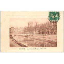carte postale ancienne 11 NARBONNE. Promenade des Barques, la Passerelle 1914