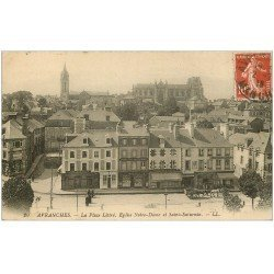 carte postale ancienne 50 AVRANCHES. Eglise Place Littré 1918
