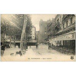 carte postale ancienne 11 NARBONNE. Quai Valière Grand Café Continental (défaut)