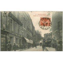 carte postale ancienne 11 NARBONNE. Rue de la République 1911 Grand Hôtel de France