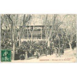 carte postale ancienne 11 NARBONNE. Skiosque de la Musique. Timbres Taxe 1908