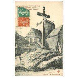 carte postale ancienne 50 BARFLEUR. Eglise, Calvaire et Cimetière 1917