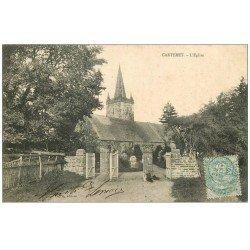 carte postale ancienne 50 CARTERET. Eglise et Cimetière 1905