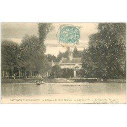 carte postale ancienne 50 CHATEAU DE L'ISLE MANIERE. Orangerie et Chapelle. La Mare