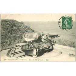 carte postale ancienne 50 CHERBOURG. Arsenal Canon de 320 m/m court 1913