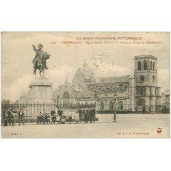 carte postale ancienne 50 CHERBOURG. Eglise Sainte-Trinité Statue Napoléon 1924