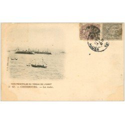 carte postale ancienne 50 CHERBOURG. La Rade Navires de Guerre. Rare Timbre de 3 Centimes 1903