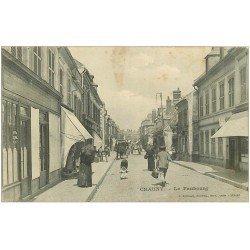 carte postale ancienne 02 CHAUNY. Le Faubourg 1918.