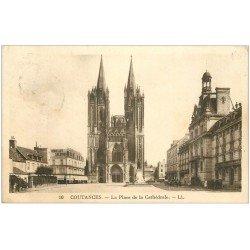carte postale ancienne 50 COUTANCES. Cathédrale et Place 1932
